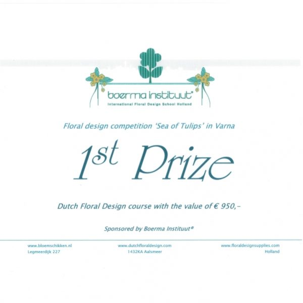 Първо място за Ради в конкурса по флористика организиран от  холандското по солство в България
