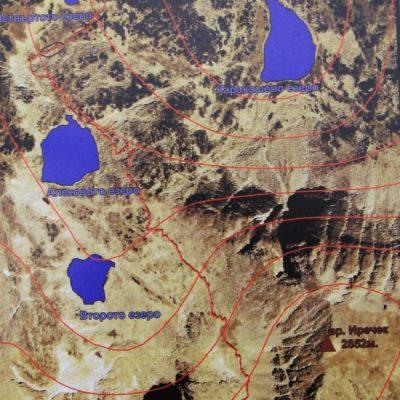 Карта на Мусаленските езера и маршрута от хижа Мусала до връх Мусала