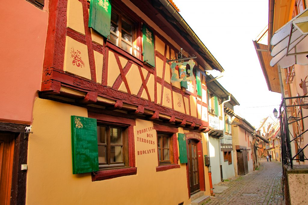 cobbled streets in Eguisheim