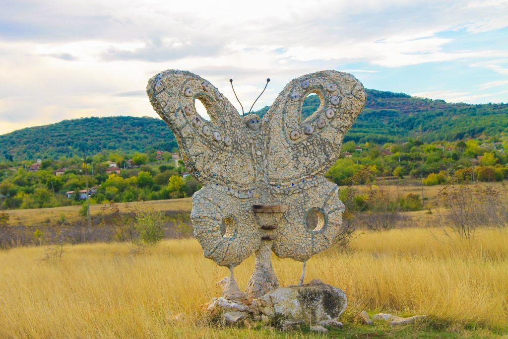Butterfly stone mosaic Karlukovo