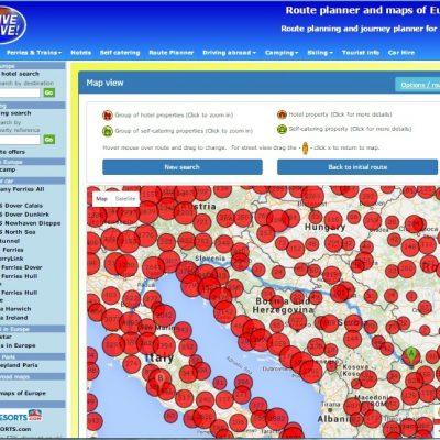 Drive alive route planner - карта на маршрута с избор на хотели